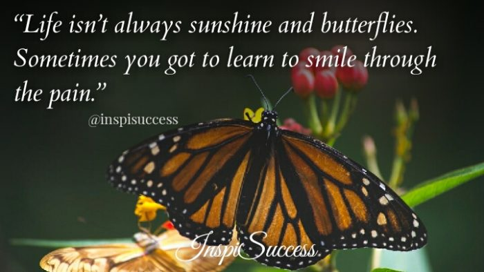 Life isn't always sunshine and butterflies. Sometimes you got to learn to smile through pain.
